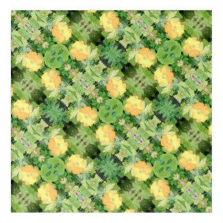 Yellow Flower Dapple 755 cropped Fractal Diagonal Acrylic Wall Art