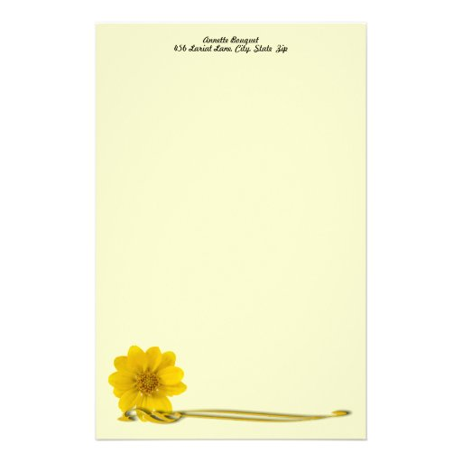 Yellow Flower & Filigree Personalized Stationery