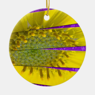 Yellow Flower Four Panel Design Ceramic Ornament