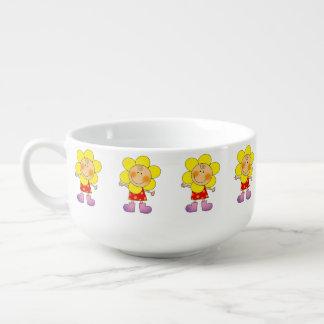 yellow flower girl soup mug