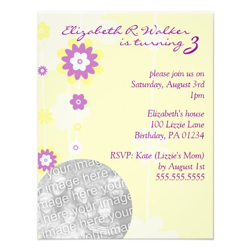 Yellow Flower Girl's Brithday Party Invitations
