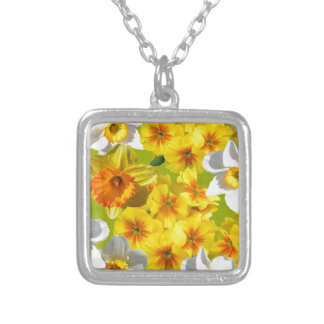 Yellow Flower Graphic Silver Plated Necklace