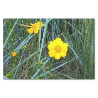 Yellow Flower in Green Grass Tissue Paper