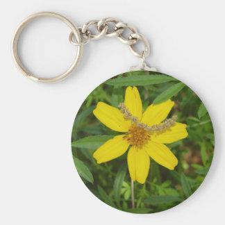 Yellow Flower In the Grass Basic Round Button Keychain