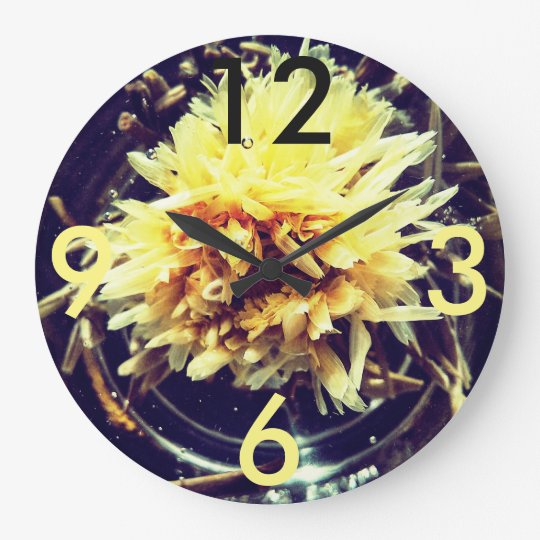 Yellow Flower Large Round Clock