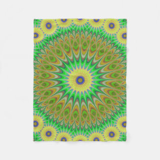 Yellow flower mandala fleece blanket