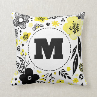Yellow Flower Monogram Throw Pillow