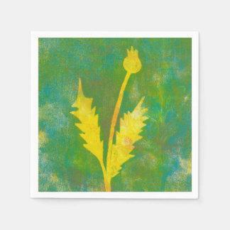 Yellow Flower Monoprint Paper Napkin