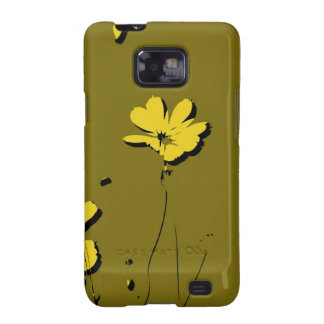 Yellow Flower on Green Background - Fine art Samsung Galaxy SII Cases