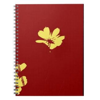 Yellow Flower on Red Background - Fine art Spiral Notebook