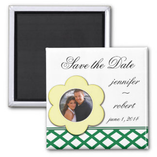 Yellow Flower Photo Frame Save the Date Refrigerator Magnet