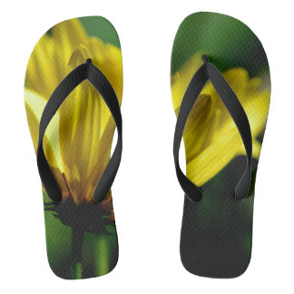 Yellow Flower Photograph On Flip Flops