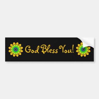 Yellow Flower Power God Bless You Bumper Sticker