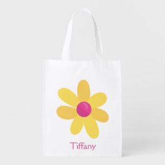 Yellow flower reusable grocery bag