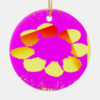 yellow flower round ceramic ornament