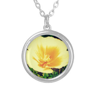 Yellow flower round pendant necklace