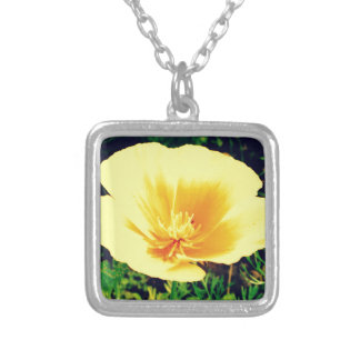Yellow flower square pendant necklace