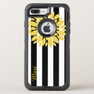 Yellow Flower Striped OtterBox Defender iPhone 7 Plus Case