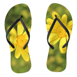 Yellow flower Sunny and Positive Flip Flops