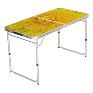 Yellow Flower Tailgate Size Pong Table