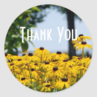 Yellow Flower Thank You Round Sticker
