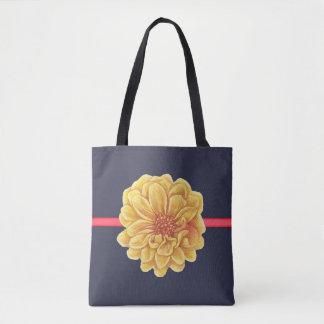 Yellow FLOWER w/ Navy Background - Handbag / Tote