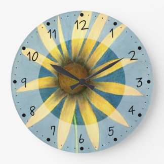 Yellow Flower with Petals Large Clock