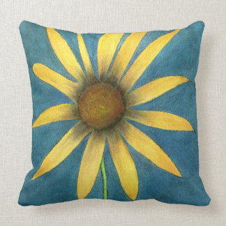 Yellow Flower with Petals Throw Pillow