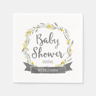 Yellow Flowers and Grey Leaves Wreath Baby Shower Disposable Napkins