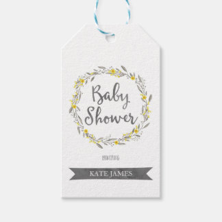 Yellow Flowers and Grey Leaves Wreath Baby Shower Pack Of Gift Tags