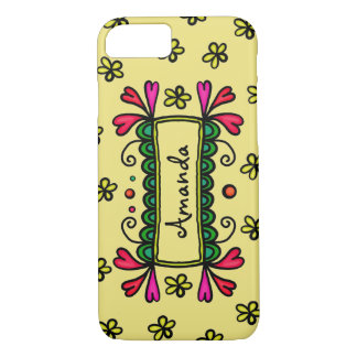 Yellow Flowers and Hearts Name Tag iPhone Case
