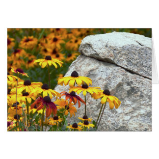 Yellow Flowers and Large Rock, Blank Inside Card