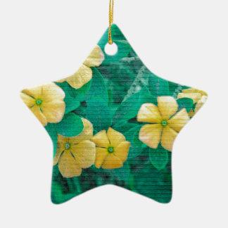 Yellow Flowers at Nature Ceramic Ornament