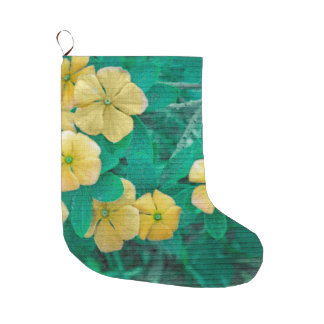 Yellow Flowers at Nature Large Christmas Stocking