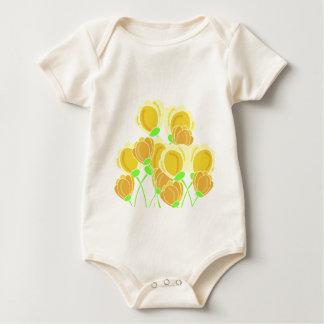 Yellow flowers baby bodysuit