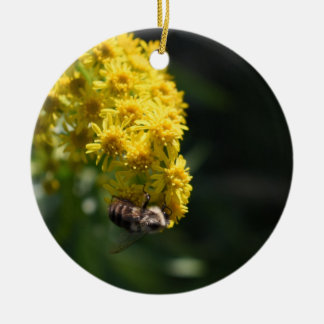 Yellow Flowers Bee Bumblebee Nature Photography Ceramic Ornament