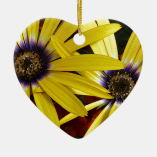 Yellow Flowers Ceramic Heart Ornament