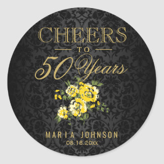 Yellow Flowers - Cheers to (Any Age) Years Round Sticker