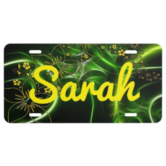 Yellow Flowers Green and Black Background Car Tag License Plate