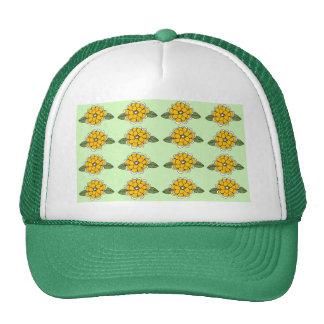 Yellow Flowers Green Trucker Hat