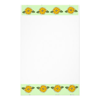 Yellow Flowers Green Stationery