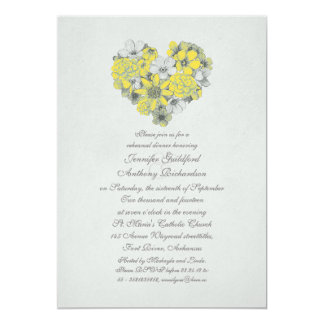 yellow flowers heart vintage rehearsal dinner card
