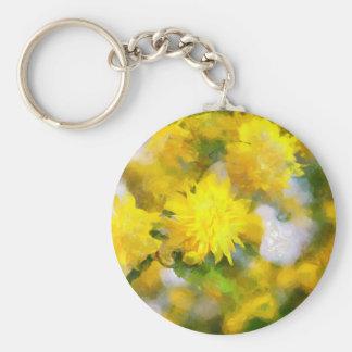 Yellow flowers in city garden in spring calm day basic round button keychain