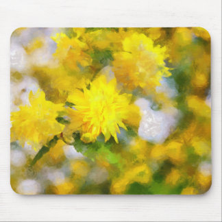 Yellow flowers in city garden in spring calm day mouse pad