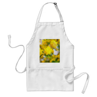 Yellow flowers in city garden in spring calm day standard apron