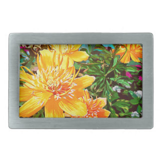 Yellow Flowers in the garden Art Rectangular Belt Buckle