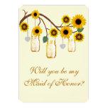 Yellow Flowers Mason Jars Maid Of Honour Card