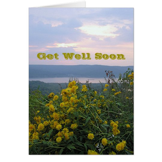 YELLOW FLOWERS ON HILLSIDE / RIVER AT SUNSET CARD