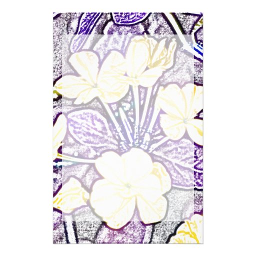 yellow flowers purple leaves sketch custom stationery
