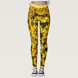 Yellow Flowers put-went Leggings